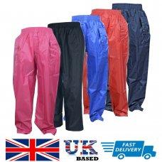 Kids Children Child Waterproof Over Boys Girls Rainwear Rain Trousers 2 - 13 yrs