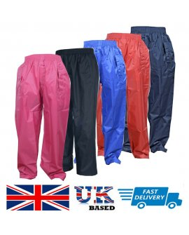 Kids Children Child Waterproof Over Boys Girls Rainwear Rain Trousers 2 - 13 yrs
